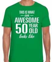 Awesome 50 year 50 jaar cadeau t-shirt groen heren