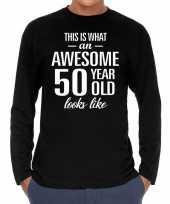 Awesome 50 year 50 jaar cadeaushirt long sleeves zwart heren