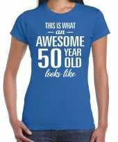 Awesome 50 year sarah cadeau t-shirt blauw dames