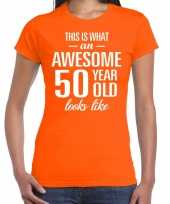 Awesome 50 year sarah cadeau t-shirt oranje dames