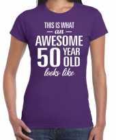 Awesome 50 year sarah cadeau t-shirt paars dames
