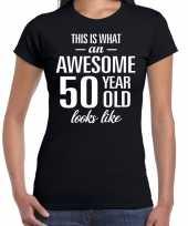 Awesome 50 year sarah cadeau t-shirt zwart dames