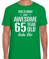 Awesome 65 year 65 jaar cadeau t-shirt groen heren