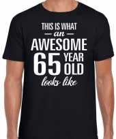 Awesome 65 year 65 jaar cadeau t-shirt zwart heren