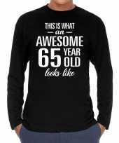Awesome 65 year 65 jaar cadeaushirt long sleeves zwart heren