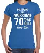 Awesome 70 year 70 jaar cadeau t-shirt blauw dames