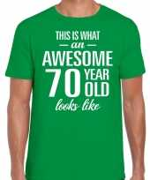 Awesome 70 year 70 jaar cadeau t-shirt groen heren