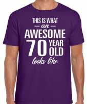 Awesome 70 year 70 jaar cadeau t-shirt paars heren