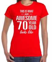 Awesome 70 year 70 jaar cadeau t-shirt rood dames