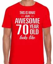 Awesome 70 year 70 jaar cadeau t-shirt rood heren
