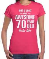 Awesome 70 year 70 jaar cadeau t-shirt roze dames