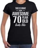 Awesome 70 year 70 jaar cadeau t-shirt zwart dames