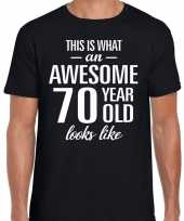Awesome 70 year 70 jaar cadeau t-shirt zwart heren