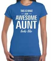 Awesome aunt tante cadeau t-shirt blauw dames
