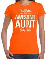 Awesome aunt tante cadeau t-shirt oranje dames
