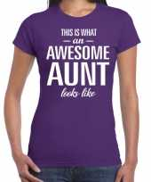 Awesome aunt tante cadeau t-shirt paars dames
