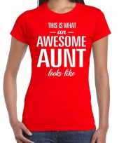 Awesome aunt tante cadeau t-shirt rood dames