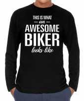 Awesome biker motorrijder cadeau t-shirt long sleeves heren