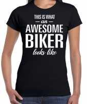 Awesome biker motorrijdster cadeau t-shirt zwart dames