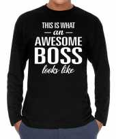 Awesome boss baas cadeau t-shirt long sleeves heren