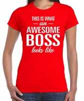 Awesome boss tekst t-shirt rood dames