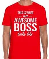 Awesome boss tekst t-shirt rood heren