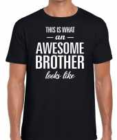Awesome brother tekst t-shirt zwart heren
