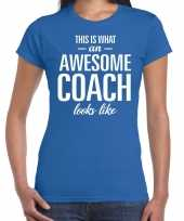 Awesome coach cadeau t-shirt blauw dames
