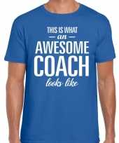 Awesome coach cadeau t-shirt blauw heren