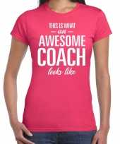 Awesome coach cadeau t-shirt roze dames