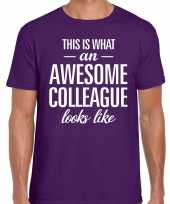 Awesome colleague tekst t-shirt paars heren