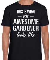 Awesome gardener hovenier cadeau t-shirt zwart heren
