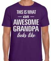 Awesome grandpa opa cadeau t-shirt paars heren vaderdag