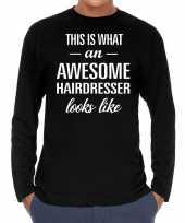 Awesome hairdresser kapper cadeau t-shirt long sleeves heren