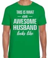 Awesome husband echtgenoot cadeau t-shirt groen heren