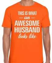 Awesome husband echtgenoot cadeau t-shirt oranje heren