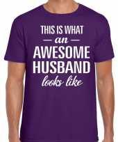 Awesome husband echtgenoot cadeau t-shirt paars heren