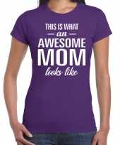 Awesome mom tekst t-shirt paars dames