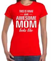 Awesome mom tekst t-shirt rood dames