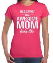 Awesome mom tekst t-shirt roze dames