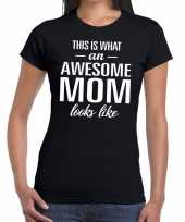 Awesome mom tekst t-shirt zwart dames