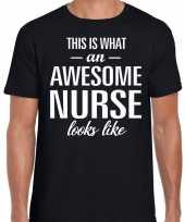 Awesome nurse verpleeger cadeau t-shirt zwart heren
