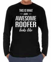 Awesome roofer dakdekker cadeau t-shirt long sleeves heren