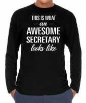 Awesome secretary secretaris cadeau t-shirt long sleeves heren