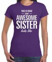 Awesome sister tekst t-shirt paars dames