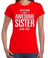 Awesome sister tekst t-shirt rood dames
