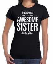 Awesome sister tekst t-shirt zwart dames