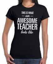 Awesome teacher tekst t-shirt zwart dames