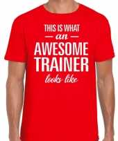 Awesome trainer cadeau t-shirt rood heren