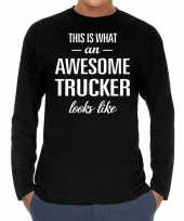Awesome trucker vrachtwagenchauffeur cadeau t-shirt long sleev